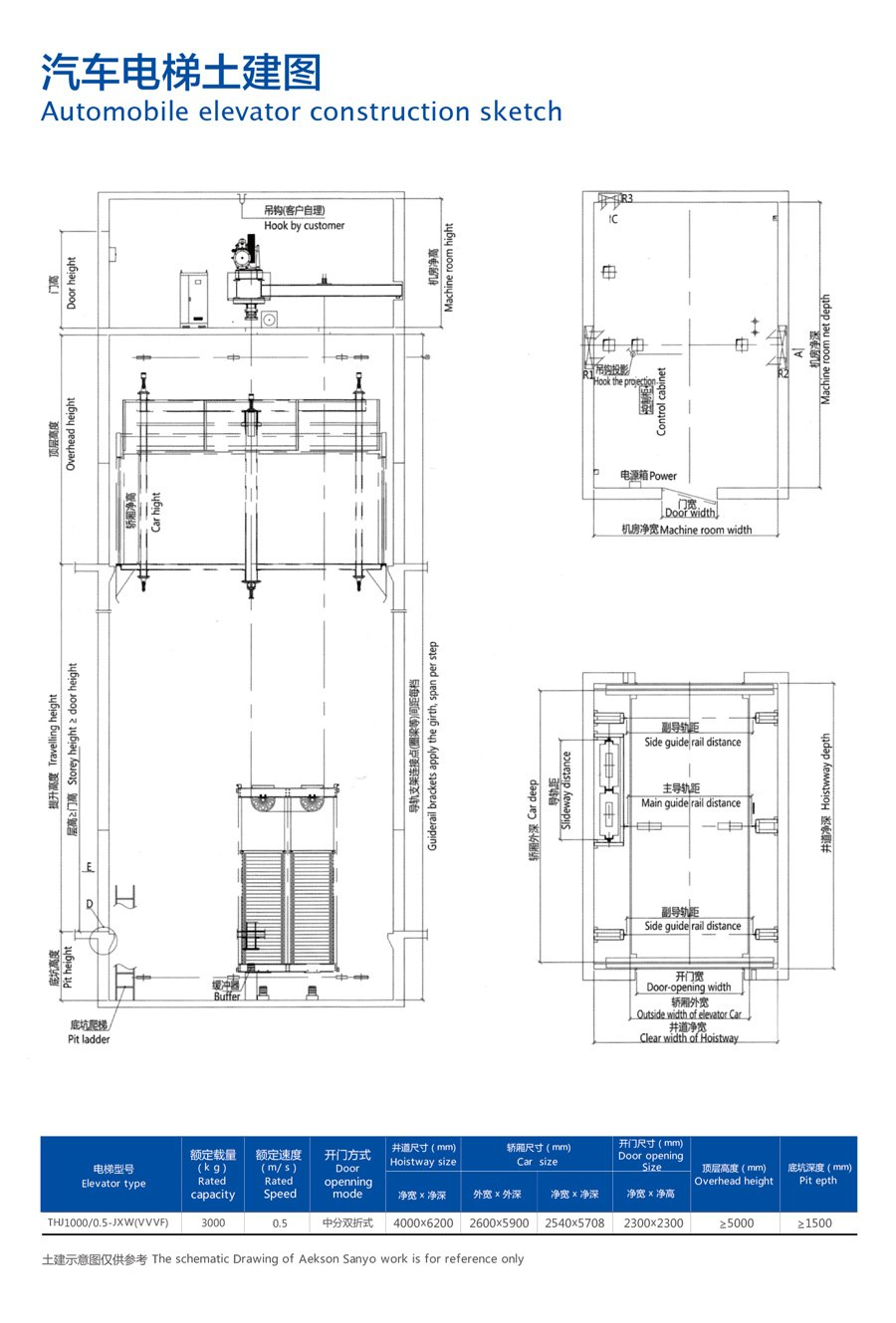 automotive elevator construction sketch